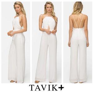 Tavik Pants - White Sleeveless Backless Wide Leg Romper